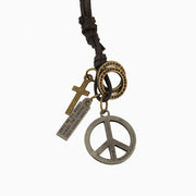 Peace Sign Pendant Cross Charms Leather Necklace