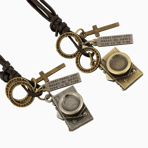 Camera Pendant Cross Charms Leather Cord Necklace