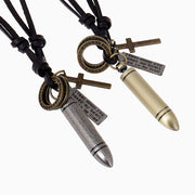 Bullet Shell Pendant Cross Charms Leather Cord Necklace