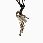 Gun Rifle Pendant Cross Charms Leather Necklace