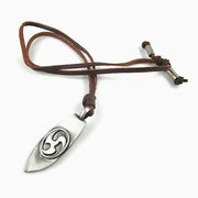 Surf Board Pendant Leather Surfer Choker Adjustable Necklace