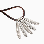Metal Feather Pendants Adjustable Leather Cord Necklace