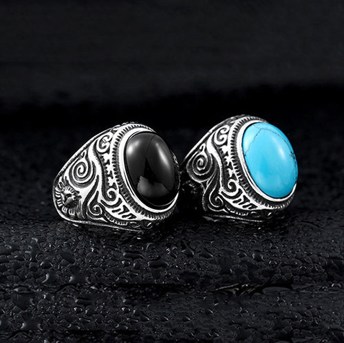Vintage Style Natural Turquoise Stone Titanium Steel Ring