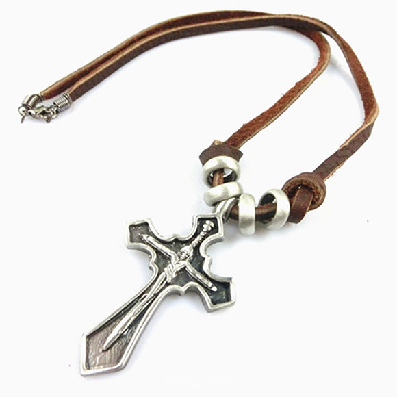 Cross Pendant Leather Cord Surfer Choker Necklace