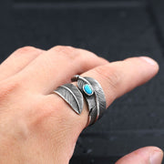 Takahashi Goro style Titanium Turquoise Decal Feather Ring