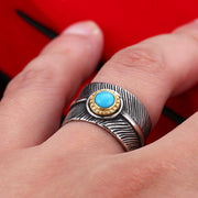 Takahashi Goro style Turquoise Decal Feather Titanium Ring