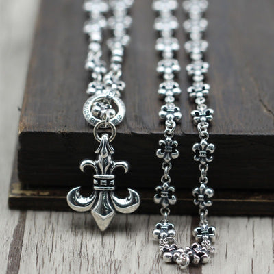 Fleur De Lis Chain Pendant Necklace Gothic Chrome Hearts Style 925 Sterling Silver Punk Rock Biker Jewelry
