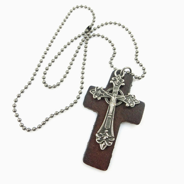 Leather Metal Cross Pendant Ball Chain Necklace