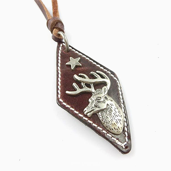 Metal Moose Leather Tag Leather Surfer Choker Adjustable Necklace