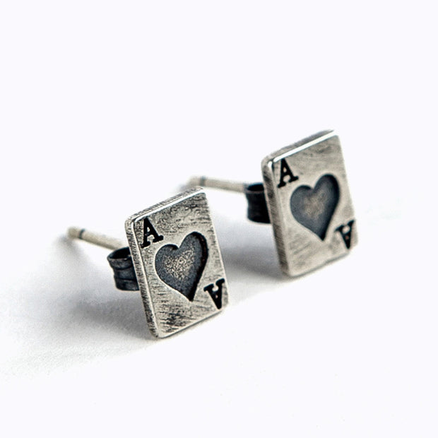 Poker Card Ace Heart Silver Stud Earring