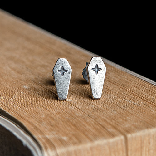 Cross Coffin Silver Stud Earring