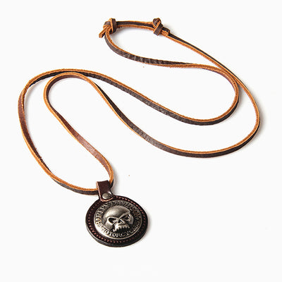 Metal Skull Pendant Surfer Choker Adjustable Leather Necklace