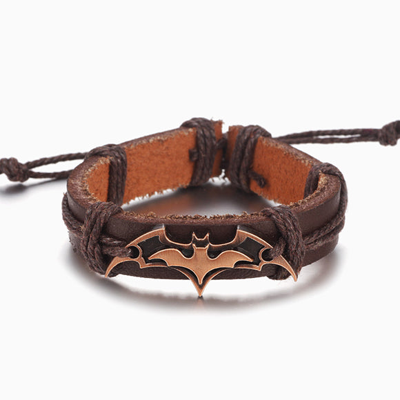 Boho Style Batman Metal Charm Leather Bracelet