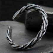 Heavy Braided Sterling Silver Cuff Bangle Bracelet