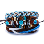 4 Pics  Braided Leather Charms Blue Set Bracelets