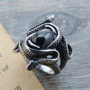 Retro Double Snake Titanium Steel Ring