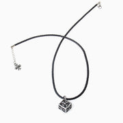 Floral Cross Cube Pendant Leather Necklace