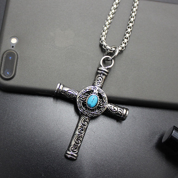 Turquoise Decal Cross Vintage Style Titanium Steel Pendant Necklace