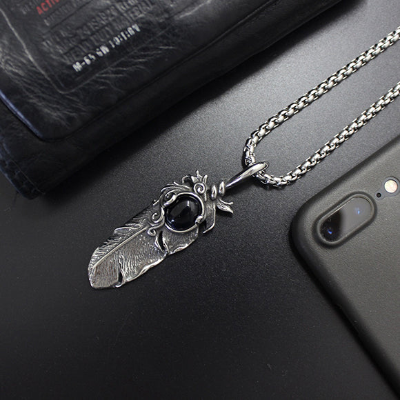 Vintage Style Feather Titanium Steel Pendant Necklace