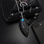 Vintage Style Turquoise Decal Feather Titanium Steel Pendant Necklace