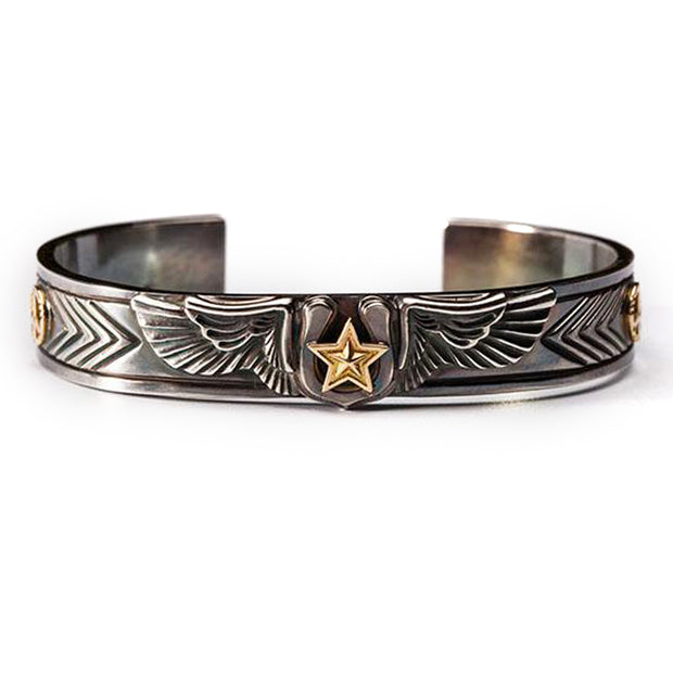 Silver Wings Horseshoe 18K Gold Lucky Star Bangle Bracelet