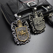 Vintage Style Lion Shield Pendant Necklace