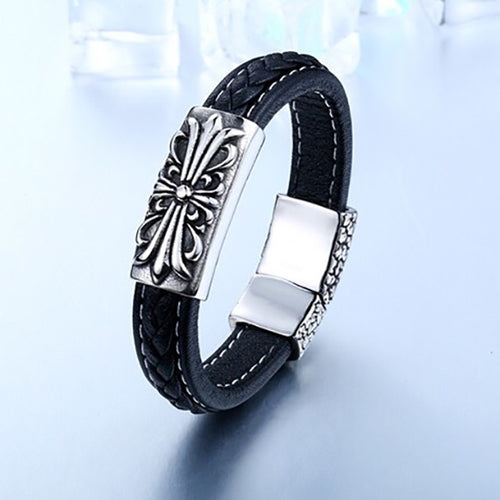 Cross Floral Premium Quality Leather Titanium Steel Bracelet
