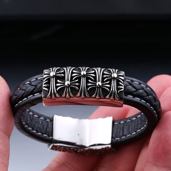 Premium Leather Cross Floral Titanium Steel Bracelet