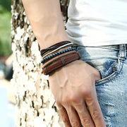 Multi-layer Braided Leather Adjustable Stacked Bracelet [2 Variations]
