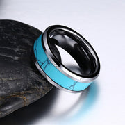 Tungsten Carbide Turquoise Inlay Ring