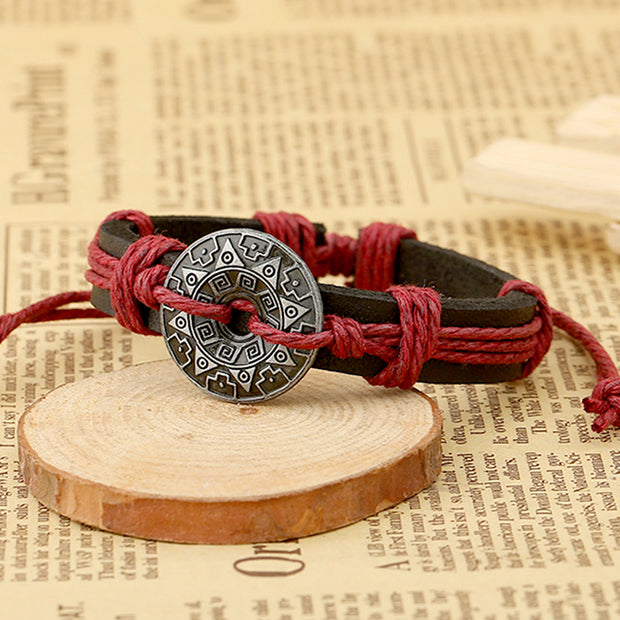 Tribal Mayan Calendar Charm Leather Bracelet [4 Colors]