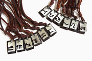 Leather Tag Horoscope Zodiac Metal Pendant Surfer Adjustable Choker Necklace [12 Variations]