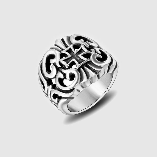 Gothic Floral Cross Stainless Steel Ring