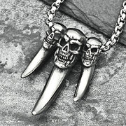 Triple Skull Titanium Steel Pendant Necklace