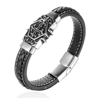 Magnetic Clasp Top-Quality Leather 316L Stainless Steel Magnetic Wristband [2 Variations]