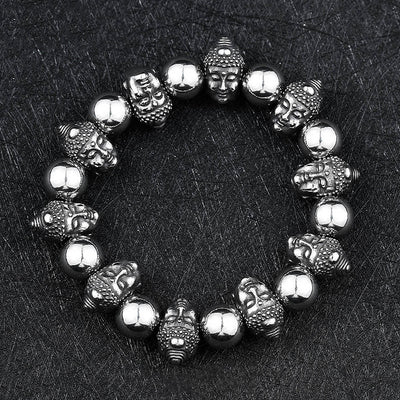 Buddha and Monster Alternating Titanium Steel Bracelet