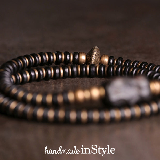 Ebony Beads X Brass Beads Wrap Bracelet