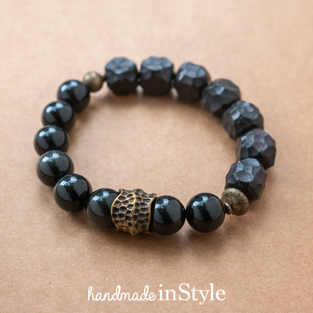 Hammered Ebony Bead with 10mm Natural Obsidian Bracelet, Brass Parts, Gift for Her, Gift for Him, Couples Gift