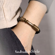 Hammered Ebony Wood Beads Brass Ring Tube Bracelet, Gift for Her, Gift for Him, Couples Gift