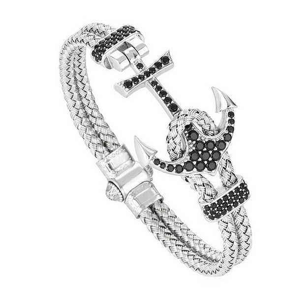 Pave Black CZ Anchor Twisted Titanium Steel Cable Bracelet