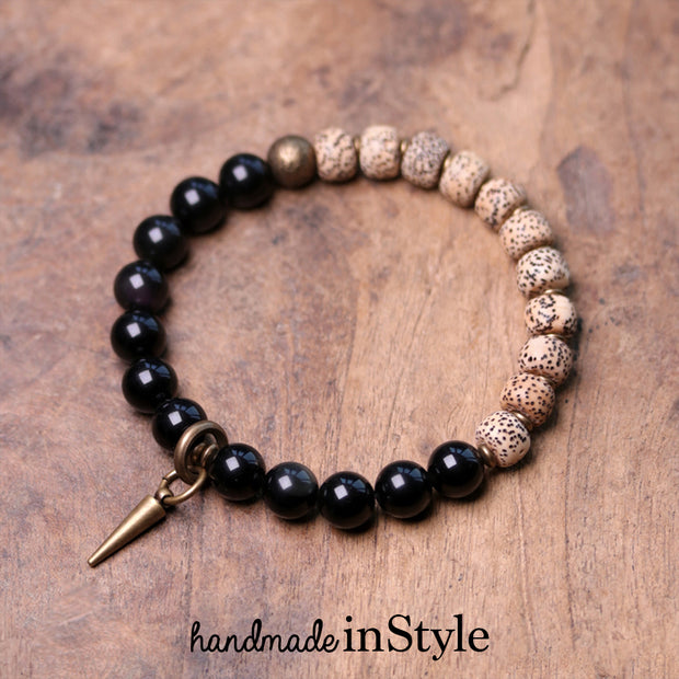 8mm Natural Obsidian X Pipal Tree Seed Bracelet, Brass Parts, Natural Starmoon Bodhi Barrel Beads
