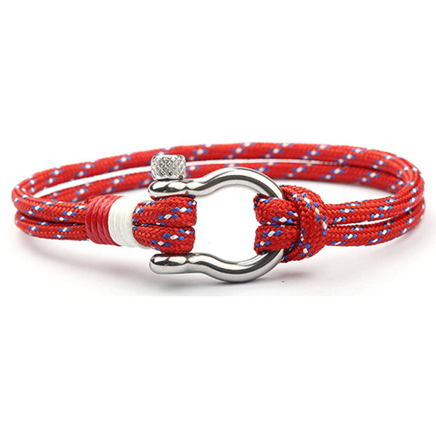 Lucky Horse Shoe High Quality Stainless Steel Double Layered Paracord Bracelets [6 Variants]