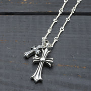 24K Plated Cubic Zirconia Cross Pendants Necklace 925 Sterling Silver