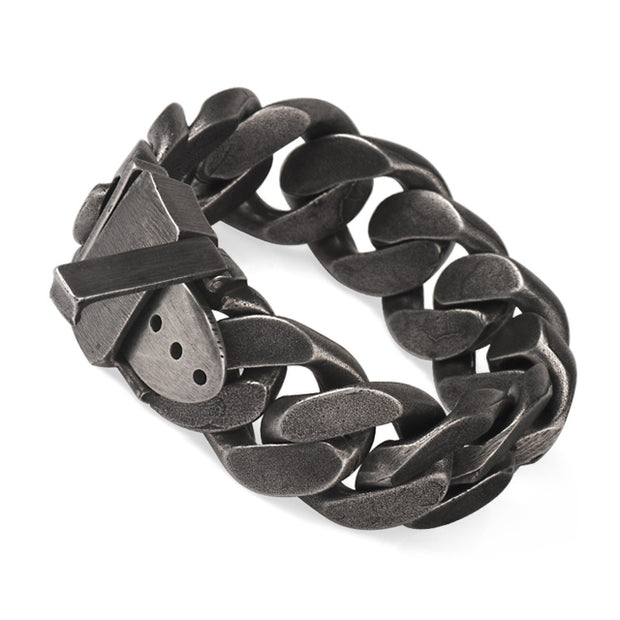 Dark Bold Titanium Steel Vintage Finished Dark Chain Bracelet