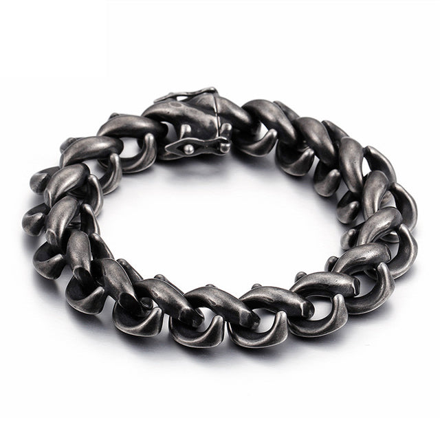 New Style Titanium Steel Brushed Black Link Chain Bracelet