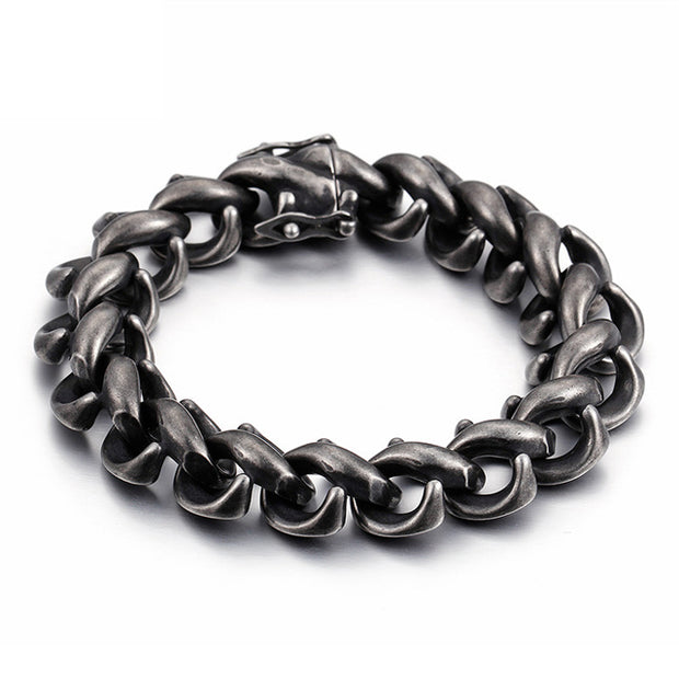 Retro Style Titanium Steel Brushed Black Link Chain Bracelet