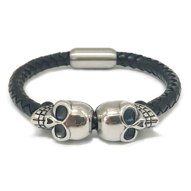 18K Skull Twin Titanium Steel Premium Leather Bracelet