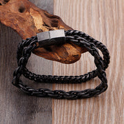Double Layer Titanium Steel Vintage Finished Dark Chain Bracelet