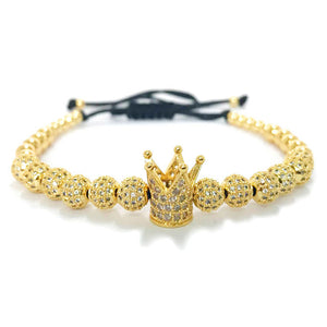 24K Gold Plated Crown 12 of Micro Pave CZ Crystal Balls Bracelet [2 Colors]