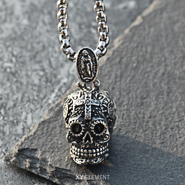 Floral Skull Titanium Steel Necklace